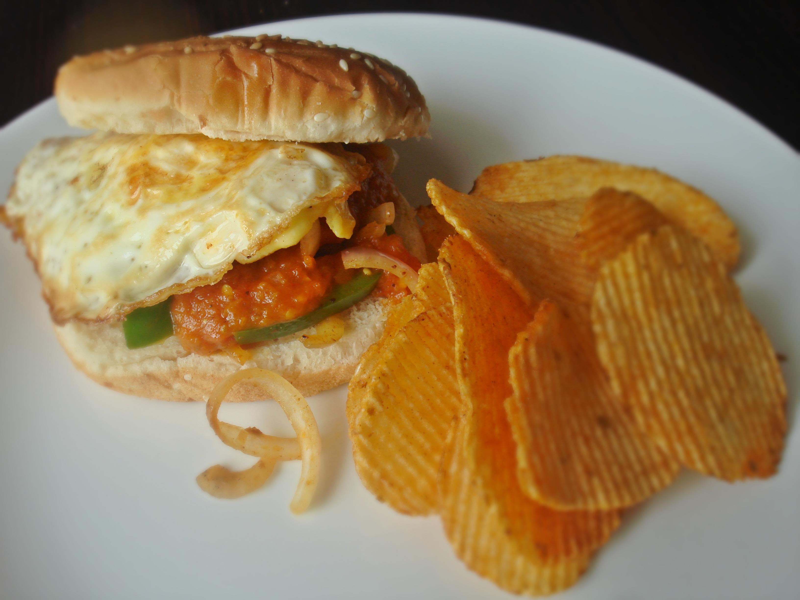 plated fried egg sandwich