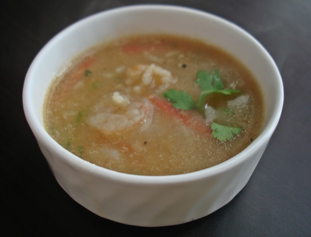 prawn and rice soup