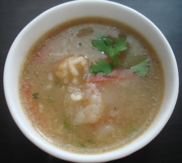 prawn rice soup